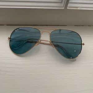 Blue Gradient Ray-Ban Aviators with Gold Rims